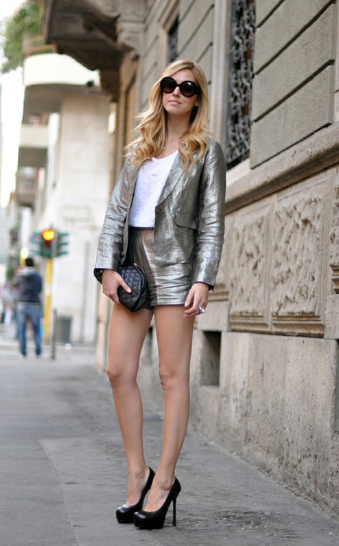 metallic short suit